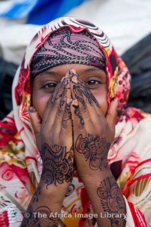 Girl with henna hands, Hargeisa, Somaliland, Somalia