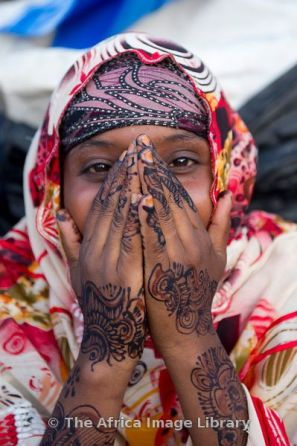 Girl with henna hands, Hargeisa, Somaliland, Somalia